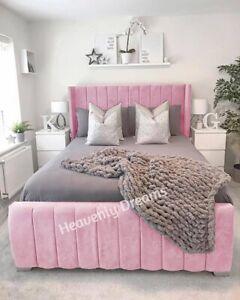 Stylish Plush Velvet Wingback Panel Bed in 3ft 4ft 4ft6 5ft 6ft