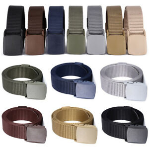 Men Classic Solid Color Military Canvas Waist Belts Automatic Buckle Nylon Belts