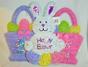 """U PICK Happy Easter WALL Decor BUNNY 19"""" or Basket Pink 17"""" PURPLE White NEW"""