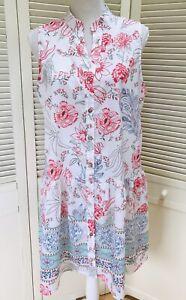 Tendency Dress White Floral Sz Large Flapper Drop Waist Sleeveless Button Up