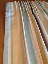 Laura Ashley Awning Stripe Duck Egg Curtains Hand Sewn Made To Measure