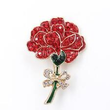 New Diamante Crystal Red Poppy Flower Pin Brooch Banquet Broach Women Xmas Gift