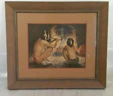 Eanger Irving Couse (E.I. Couse) Style Framed Print - Fireplace, Smoking Pipe