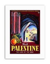 VISIT PALESTINE BIBLE LAND JERUSALEM ISRAEL Vintage Travel Canvas art Prints