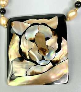 Lee Sands Abstract Lion Inlay w Garnet & Pearl Necklace