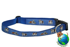Bulldog Dog Breed Adjustable Nylon Collar Extra Large XL 13-26″ Blue