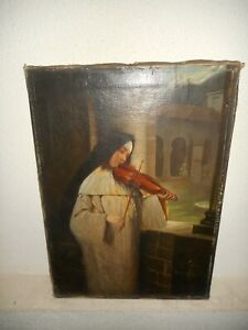 Antique oil painting , Religious - { Pretty non playing the violin, is signed }.