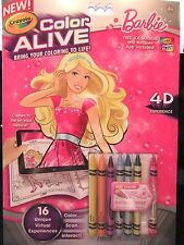 Crayola Color Alive Barbie 4D Experience NEW Ages 4+ Pages & Crayons