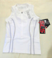 SL3S SLS3 Race Apparel Athletic Sleeveless Top Zipped In White Size XXS