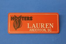 ORANGE HOOTERS GIRL NAME TAG PIN (name in white) LAUREN Anderson, SC