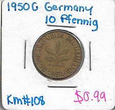 1950 G Germany 10 Pfennig KM # 108 coin