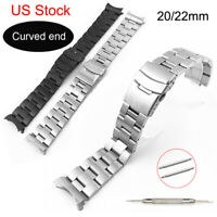 USA Curved End Metal Watch Band Stainless Steel Bracelet Wristband Strap w Pins