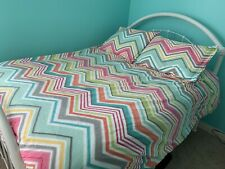 Pottery Barn Teen Zig N Zag Chevron Queen Duvet Cover, Shams, Pom Pom Curtains