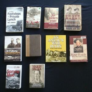 BULK LOT OF 10 BOOKS ON ANZACS MILITARY WORLD WAR 1 AND 2 VICTORIA CROSS