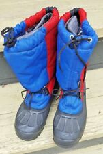 SOREL SNOW BOOTS MEN'S SIZE 6 WOMEN'S 8 EUC RED BLUE BLACK WOOL LINER