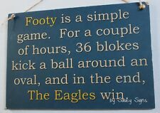 Simple Game West Coast Footy Sign Aussie Rules - Bar Shed Kitchen Wooden Eagles