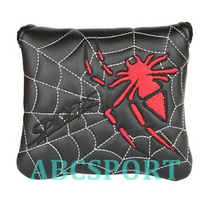 Spider Embroidery Golf Square Mallet Putter Head Cover with Magnetic Closure