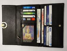 Leather Purse Wallet Organiser Extra Large with Flap Black and Many features