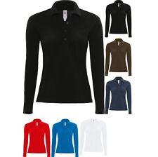 Ladies Women B&C Safran Pure Long Sleeve 100% Cotton Plain Polo Neck Shirt