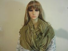Collection XIIX Infinity Loop Cowl Woven Scarf with Fringe Beige NWOT #583