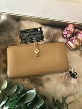 AUTH CHANEL CC Coco Logo Button Beige Leather Bifold Long Wallet Vintage Classic
