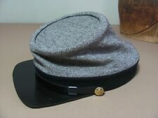 Superior Cap/ C.S. Kepi, / natural gray with black band/ Tart Wool Sz 7 1/2