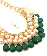 Multi Line Bib Necklace Large Emerald Green Stone's White Pearls