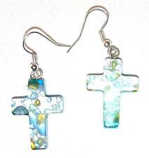 EARRINGS E21 Fused Glass Crosses TURQUOISE BLUE/SILVER FOIL CROSS