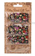 Chic shabby Pack de 15 ditsy floral carte étiquettes cadeau cravates vintage avec chaîne