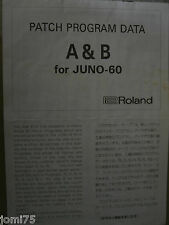 Roland FACTORY A B PATCH PROGRAM DATA JUNO 60 Programmable synthesizer