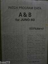 Roland FACTORY A B PATCH PROGRAM DATA JUNO 60 Programmable synthesizer