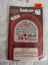 "Vintage Janlynn #06-5 Sampler 4x4"" Complete Counted Cross Kit, New in Package"