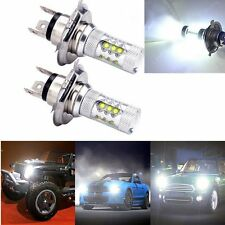 2 X H4 80W CREE LED Fog DRL Driving Car Head Light Lamp Bulbs White Super Bright