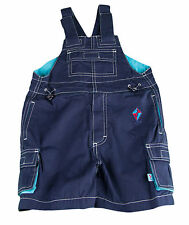 JACADI Boy's Truth Navy and Turquoise Blue Rugged Overalls Size 4 Years NWT $52