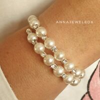 Silver Diamante CZ Crystal Pearl Tennis Bracelet Elastic Bridal FREE Gift Bag UK