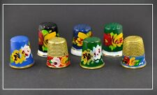 7 HAND PAINTED FLOWERS THIMBLES