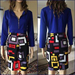 RETRO 60s MOD DRESS 14 geometric STRETCH zip front straight skirt blue red NEW