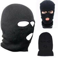 3 Hole Ski Mask Balaclava Black Knit Hat BLACK Face Shield Beanie Cap Snow Warm