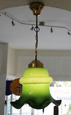 DECKEN PENDEL LAMPE - XL GLAS SCHIRM - GRÜN / GOLD - 70'S VINTAGE PENDULUM LAMP
