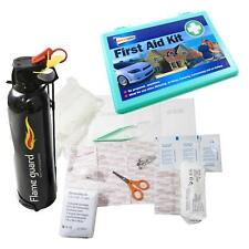 Fire Extinguisher 600g Black ABC Dry Powder & 33 Piece First Aid Kit Car Van