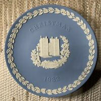Vintage Wedgwood In Box Blue White Jasperware Christmas Plate 1982 England