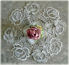 """Set of 2 ROSES JUBILEE  10"""" Lace Doily   Doilies  Rose Flower Floral"""