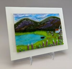Debbie Lord Fused Glass Mountainscape and Cottage Picture