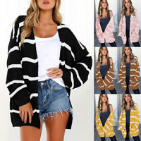 Women's Cardigans Striped Loose Sweater Chunky Cable Knit Open Front Long Winter