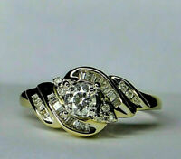 1.50 Ct Round Cut Diamond 14K Yellow Gold Finish Cluster Engagement Ring.