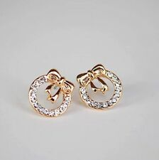 Beautiful Round Gold Wreath Bow Crystal Rhinestone Fashion Women Party Earrings