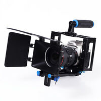 Video Camera Cage Rig with Handle Grip+Matte Box for DSLR Camcorder 5D Mark II