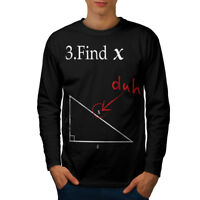 Wellcoda Find X Mens Long Sleeve T-shirt, Funny Math Graphic Design