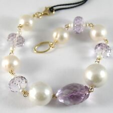 BRACELET YELLOW GOLD 750 18K, LARGE WHITE PEARLS 14 MM, AMETHYST PURPLE