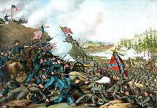 "Civil War Painting Battle of Franklin TN Large 12.5"" x 18"" Real Canvas Art Print"